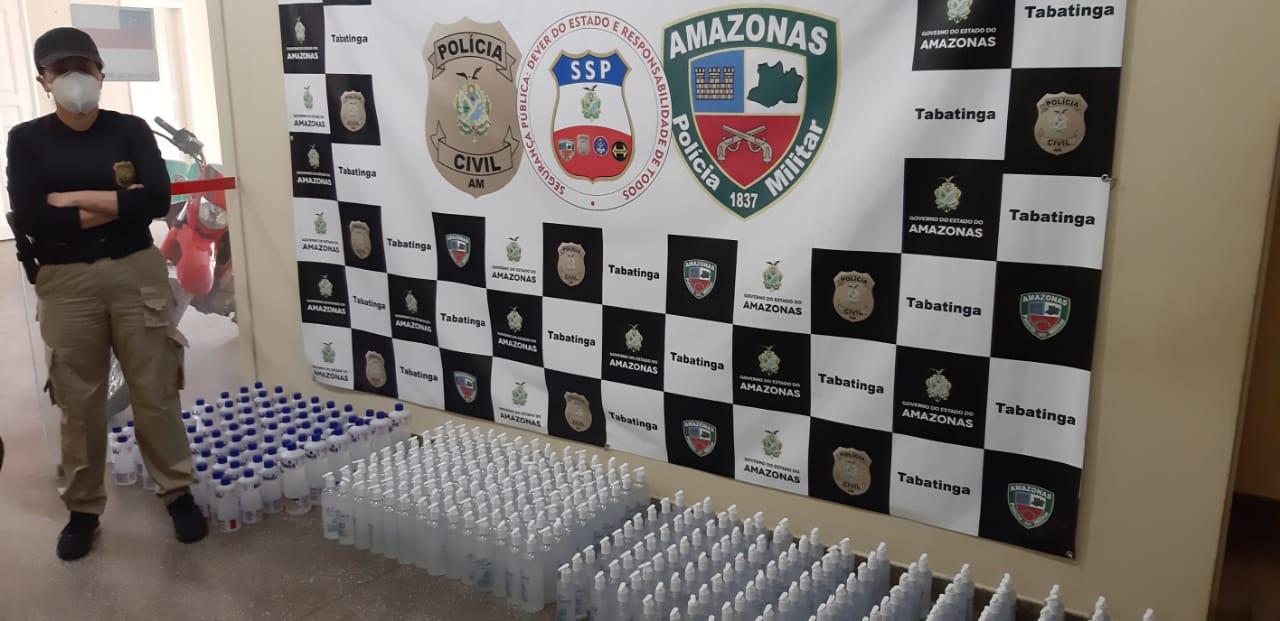 Polícia Civil apreende 342 frascos de álcool liquido e em gel comercializados irregularmente, em Tabatinga