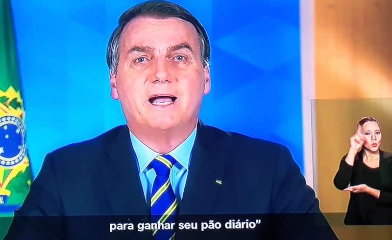 JAIR BOLSONARO – pronunciamento mostra mais preocupação no combate ao Coronavírus e com o desemprego