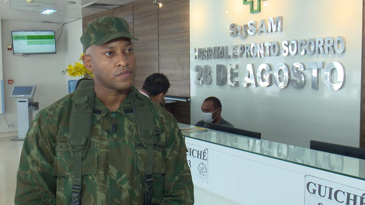 Militares das Forças Armadas realizam descontaminação de enfermaria e ambulâncias no HPS 28 de Agosto