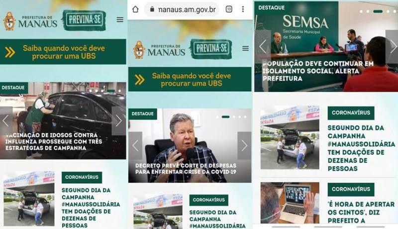 ONLINE!!! – Prefeitura de Manaus lança site para ajudar a população a se prevenir contra o Coronavírus