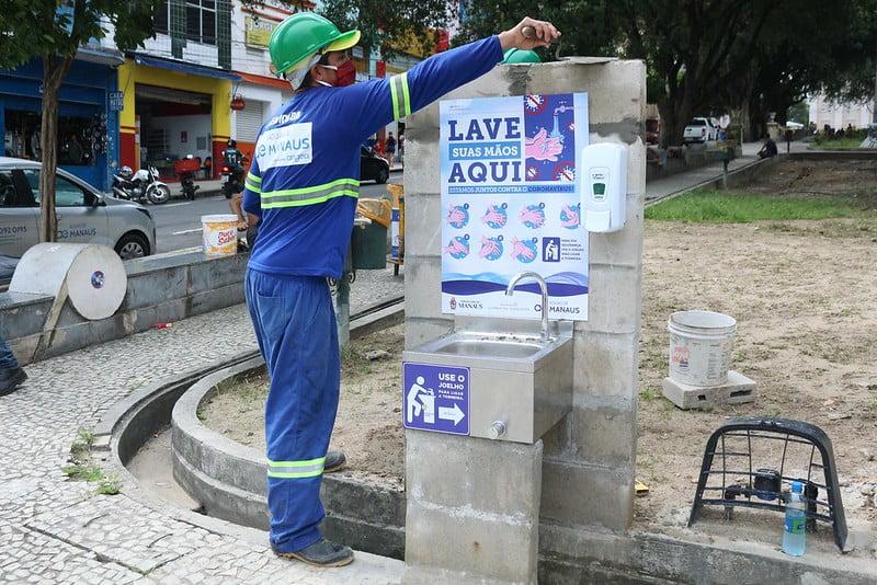 Prefeitura de Manaus e concessionária de água concluem a instalação de 14 pias públicas