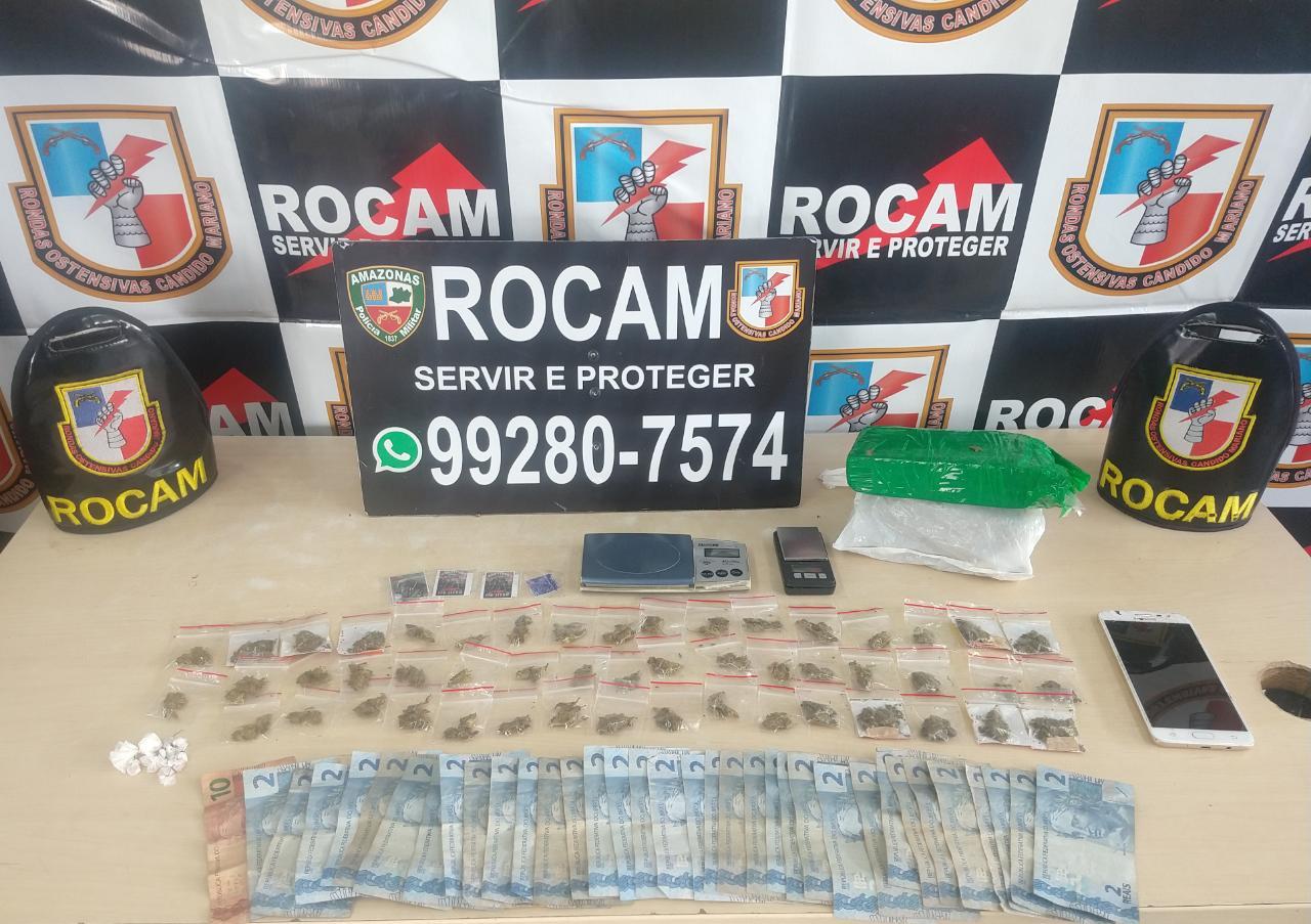 Polícia Militar, por meio da Rocam, detém um homem por tráfico de drogas no bairro Alvorada 2