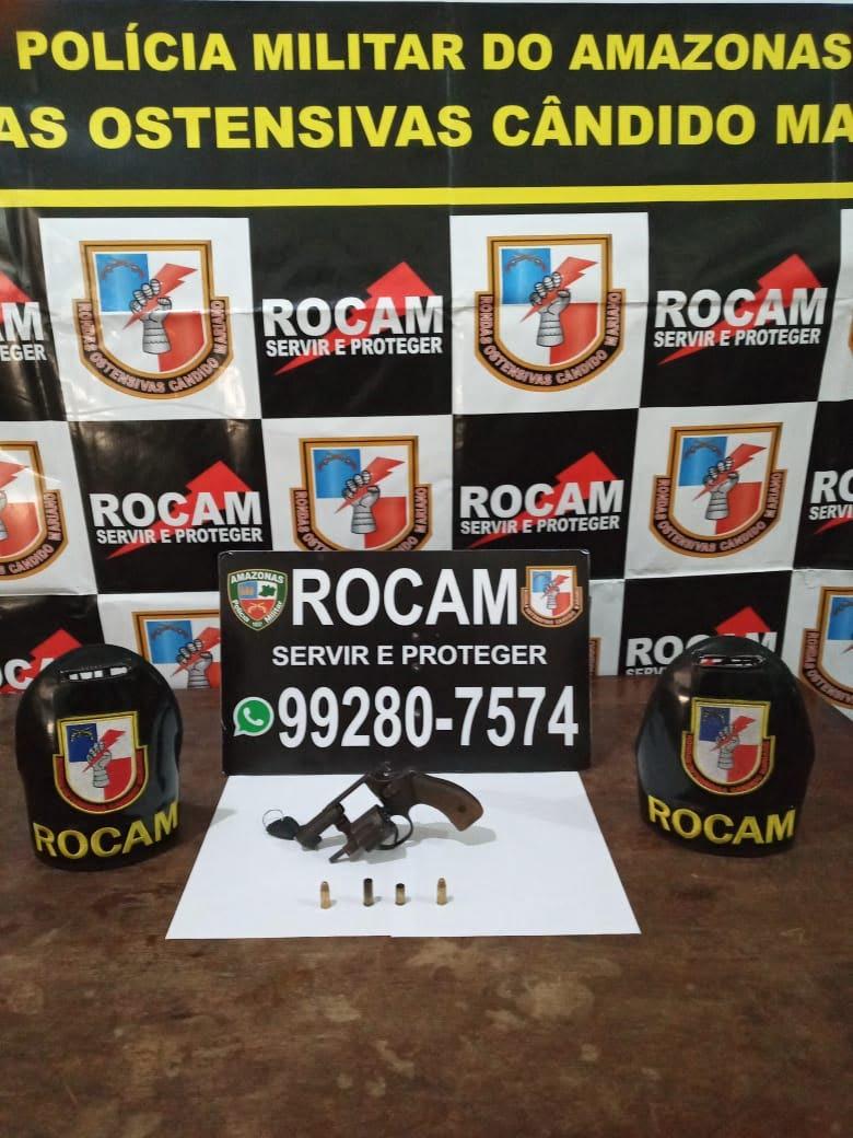 Policiais da ROCAM o apreendem arma de fogo no município de Tefé